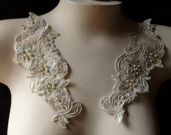 GOLD Pair Beaded Appliques in Champagne Gold Lace for Bridal, Headbands, Sashes, Costume Design PR 125