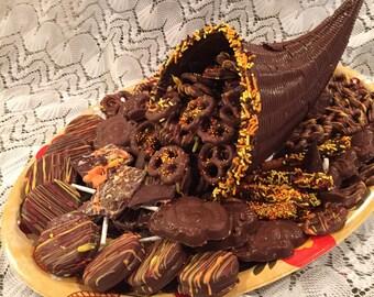 Chocolate Cornucopia Filled With Chocolate Goodies, Thanksgiving Centerpiece, Chocolate centerpiece