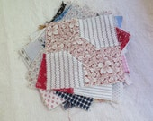 Antique Quilt Pieces Bow Tie Quilt Cotton Prints 36 Pieces Unfinished Quilt in Feed Sack Fabrics