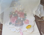 Cotton Organza Handkerchief from Switzerland with White Embroidered Hearts Includes Valentines Day Card