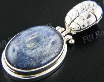 """1 7/16"""" Kyanite Gemstone 925 Sterling Silver Pendant"""
