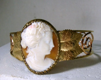 Real Shell CAMEO Cuff Bracelet, 1960s HandCarved Pretty Woman Portrait, Real Conch SHELL, Rome Italy Purchase