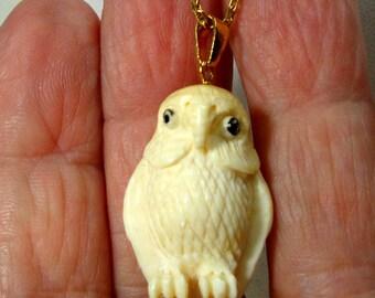 Owl Necklace, Handcarved Oxbone Predator Bird Pendant on Goldtone Metal Chain, 1980s