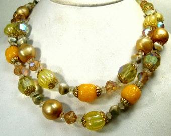 VENDOME 2 Strand Yellow n Crystal Art Glass Bead Necklace, Pearls, Gold, Aurora Borealis, GLAM Mad Men Choker, 1960s, Elegant Signed Classic