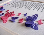 Precious Little One Personalized 3D Memorial Butterfly Word Art. Sample Shows Pink & Purple or YOUR Choice of 2 Colors. 8x10. Made to Order