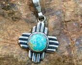 PTMZ Sterling Silver Turquoise Zia Symbol Southwestern Native Style Pendant