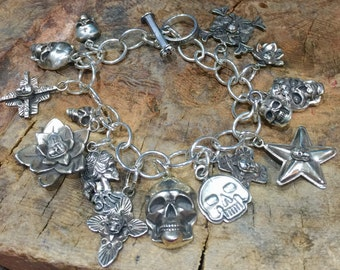 BRSK Multiple Skull Charm Bracelet Sterling Silver Southwestern Native Style Day of Dead Dia de los Muertos Cuff