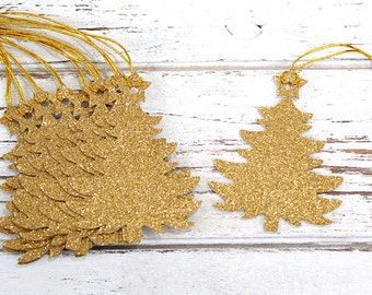 Christmas Tree Gift Tags - Set of 10 - Christmas gift tags, glitter gift tags
