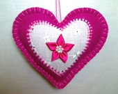 Bright Pink Felt Heart Ornament | Valentine's Day | Holidays | Wedding Bridal | Tree Ornament | Decoration | Party Favor | Handmade #5