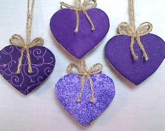 Purple/Lavender Heart Ornaments | Home Decor | Bridal Wedding | Party Favors | Valentine's Day | Holidays | Tree Ornament |  Set/4 | #2