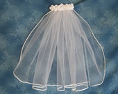 Short White First Communion Veil  Tiny One Tier Communion Veil with White Soutasch Cord Edge 13 Inches Long 68971