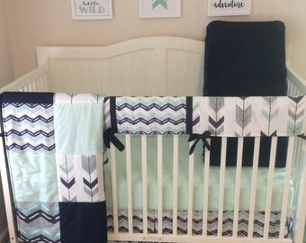 Crib Bedding Set Navy Mint and Gray Arrows