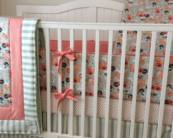 Baby Girl Crib Bedding Set in Peach Coral and Sage Floral DEPOSIT