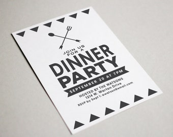 Modern Black and White Simple Dinner Party Adult Birthday Party Corporate Event Invitation