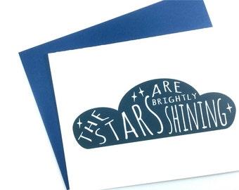 Modern Christmas Card, Navy Blue The Stars are Brightly Shining Holiday Card, Christmas Carol Greeting Card, Nautical Xmas Card
