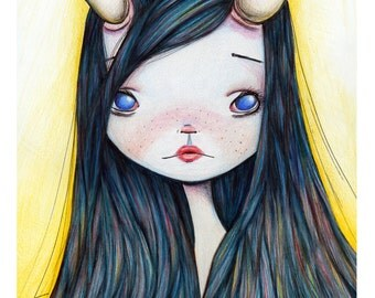 5x7 Art Print - 'Lonely Girl' - Premium Giclee Fine Art Print Small Sized - little girl with broken horn - Jessica von Braun