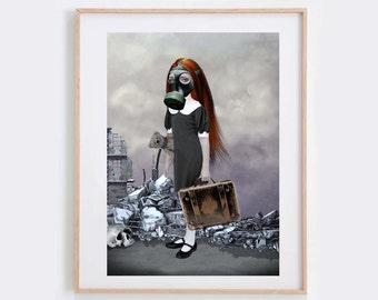 Steampunk Art Print - Gas Mask Girl - Apocalyptic Art - Wall Decor - Evacuation