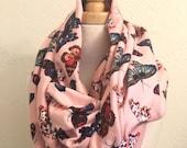 SALE Infinity Scarf - Pink Butterfly - Cotton Jersey Fabric - Modern Fashion Accessory - Women Tweens Teens