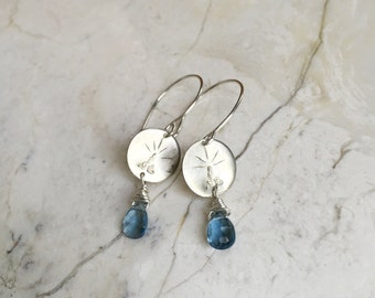 London Blue Quartz Dangles. Teardrop Stones. Sterling Silver. Stamped Charm Earrings. Simple Modern Earrings. Pale Blue Stone. Romantic.