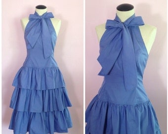 Vintage 1980s Ruffle Dress/ 1950s Style/ Tuxedo Bardot/ XS S
