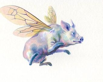 Original painting: 'Hilda' - A flying pig!