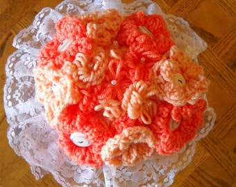Customize Your Colors Yarn And Button Wedding Flower Bouquets