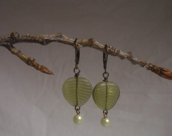 Sage Green Glass Leaf EARRINGS, pearl drop and oxidized brass