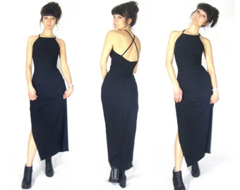 90s black dress / minimalist / long / maxi / slinky / slit / small / medium