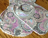 Flannel And Chenille Burp Cloth and Bib Set, Pretty Paisley, ready to ship, gray grey, lavender