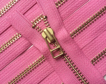 YKK metal zippers with gold brass teeth and DHR Wire style pull- (5) pieces - Princess Pink- 9 inches