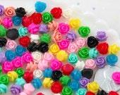 Mini Flowers - 7mm Super Tiny Mini Roses Flatback Resin Cabochons - 60 pc set