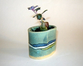 Cactus Pot – Succulent Planter – indoor garden - Ocean Design – Home Décor – Turquoise Pottery