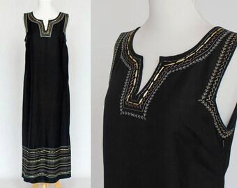 70's Sleeveless Maxi Dress / Black linen Sheath / Medium