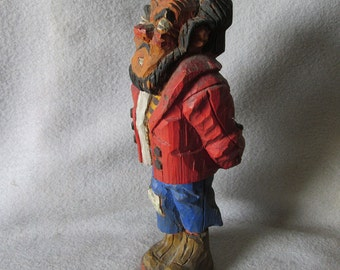 c1941 Folk Art Hand Carved Man, Signed, Outsider Art