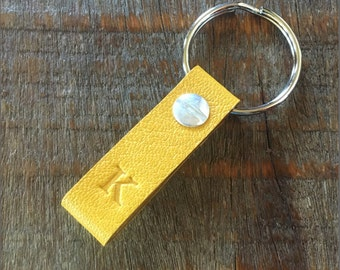 Monogrammed Sunflower and Wheat Leather Keychain - TINY style