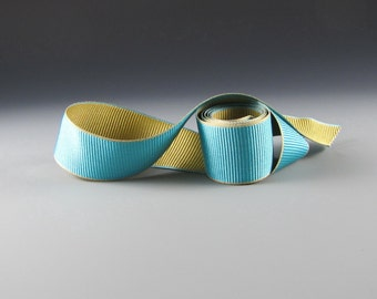 Hat Band Ribbon Aqua and Antique Gold Double Faced Grosgrain