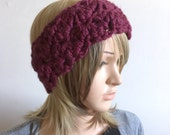 Earwarmer Headband Head Warmer- Shell Stitch Design with Wood Button - Designer Wool Blend Yarn in Burgundy Wine Red- women, girl, teen -