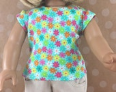 "Fits American Girl 18"" Dolls Cotton Knit T-Shirt Bright Flowers Capped Sleeves Cotton Knit Top Girls Toy"