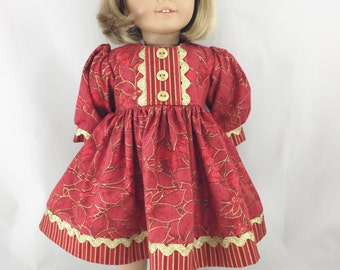 "18"" Doll Christmas Dress Deep Red and Burgundy Poinsettias with Gold Accents with Gold Accent Stripes Matching Hair Bow"