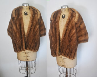 1950s Genuine MINK Fur Stole Cape / brown shawl