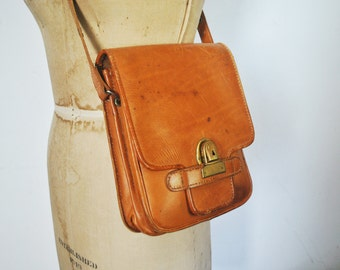 HONEY Brown Leather Bag Purse / distressed Satchel