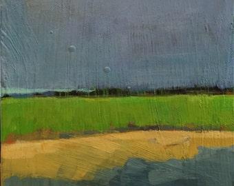 "Wading at Twilight - Original Acrylic Oil Encaustic Landscape Painting - 8""x 10"""