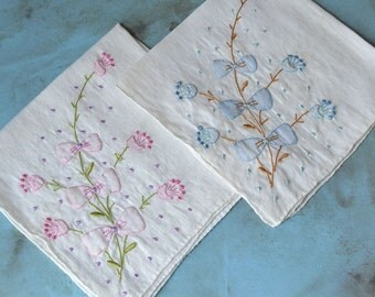 2 Vintage Hankies with Embroidered Flowers & Bows Pink Purple Blue