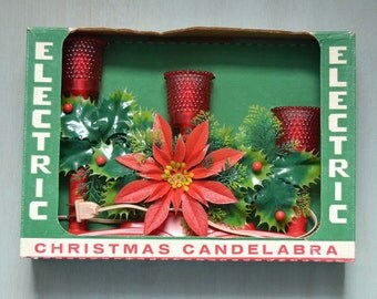 Vintage Electric Christmas Candleabra Light in Original Box Kitsch