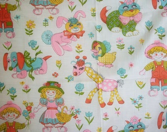 "2 Pair Vintage Children's Curtain Panels 36"" L Cute Animals"
