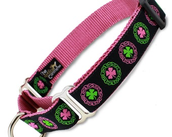 Pink Irish Clover Martingale Dog collar, Limited Slip Collar with Fabric Loop, Safety Collar
