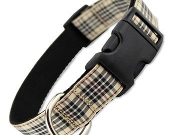 Furberry Plaid Dog collar, fashion dog collar with quick release buckle, x-small, small, medium, large, x-large