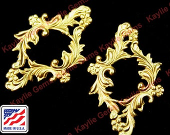2pcs Filigree Stamping Raw Brass Victorian Floral Made in USA - G6196RB
