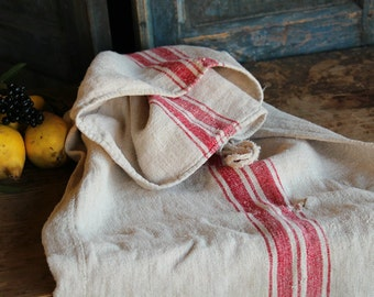Nr. A354: grainsack,  antique linen;  FRENCH RED pillow benchcushion; 55.12 long;  wedding decoration; christmas, thanksgiving