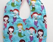 Ready To Ship - Mermaids Baby Bib - Mermaids Toddler Bib - Aqua Pink Baby Girl Bib - Size 6 Months to 2T #45
